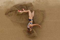 Britain's Jessica Ennis makes an attempt in the Heptathlon Long Jump at the World Athletics Championships in Daegu, South Korea, Tuesday, Aug. 30, 2011.