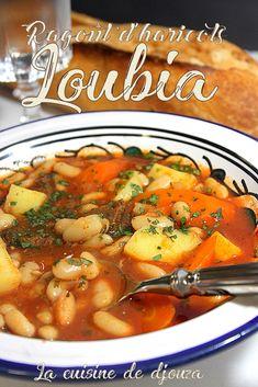 Algerian Loubia, white beans in red sauce, white bean stew recipe Algerian cuisine. Turkish Recipes, Ethnic Recipes, Arabic Recipes, Algerian Recipes, Egyptian Food, Vegetarian Recipes, Healthy Recipes, Ramadan Recipes, Soups