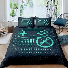 Erosebridal Gamepad Comforter Cover Video Games Theme Quilt Cover for Kids Boys Teens Gamer Teal Dots Pattern Luxury Bedding Set Ultra Soft Bed Decor King Size 1 Duvet Cover with 2 Pillow Cases Gamer Bedroom, Bedroom Setup, Bedroom Themes, Bedroom Ideas, Teen Game Rooms, Small Game Rooms, Video Game Bedroom, Avengers Room, Comforter Cover