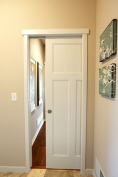 Pocket Door White Molded Craftsman Style Interior Perfect For Areas With Minimal