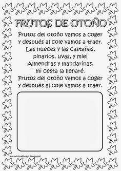 Aula virtual de audición y lenguaje: Poemas de otoño Circle Time, Spanish Class, Color Shapes, Fall Crafts, Bullet Journal, Letters, Songs, Education, School