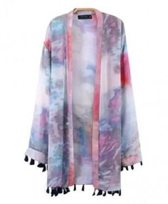 b7256dfd94 LUCLUC Purple Dip-Dyed Long Sleeve Kimono with Tassels ( 24) ❤ liked on