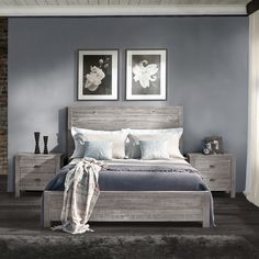 FREE SHIPPING Give your bedroom a Rustic chic look with the warmth of this Solid Wood Bed. This design features a Panel headboard and foot board made of 100% Solid Pine wood from Southern Brazil, this