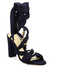 Alexandre Birman - Alessa Silk & Suede Wrap Sandals