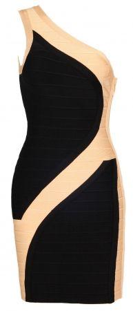'Rose' Black & Beige One Shoulder Bandage Bodycon Dress $156