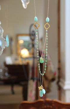 Long Multi Layer Necklace, Wire Wrapped Chrysoprase w Peru Opals, Yoga Lotus Flower, Quatrefoils, Aqua and Green Delicate Layering, Gold