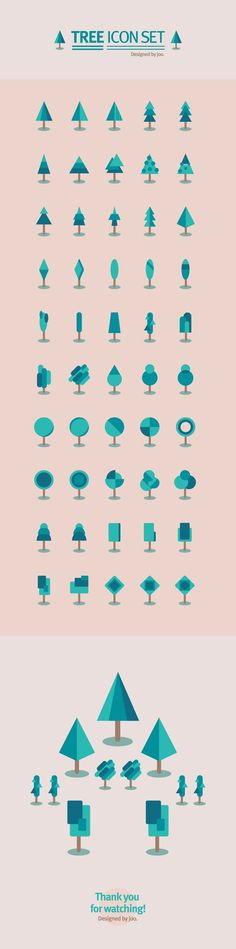 50 tree icon set by joo eunjeong, via Behance ((have students design 50 icons of one thing for Graphic Design 2 class? Web Design, Game Design, Tool Design, Flat Design, Flat Illustration, Graphic Design Illustration, Design Illustrations, Illustrations Posters, Corporate Design