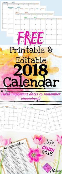 free printable 2018 calendar   free 2018 editable calendar   2018 calendar   2018 important dates   2018 holidays   organize 2018   2018 planner #2018printablecalendar #2018editablecalendar #2018calendar #2018freecalendar via @unclutteredsimplicity