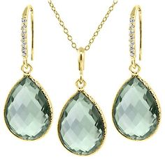 """19.50 Ct Green Amethyst 16X12mm Pear Shape Gold Plated Silver Jewelry Set 18"""""""""""""""