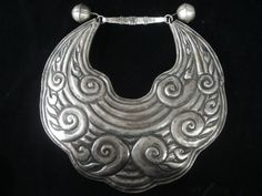 "Guizhou, China - 14"" Vintage Miao Silver Cloud Necklace"