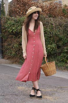 Jigsaw Dress, Gap Cardigan, Vintage Bakset, Vintage Straw Hat