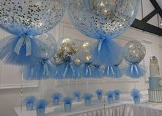 Baby Shower Decorations For Boys, Baby Shower Themes, Baby Boy Shower, Boy Baptism Decorations, Shower Ideas, Boy Baptism Centerpieces, Tulle Balloons, Confetti Balloons, Baby Boy Baptism