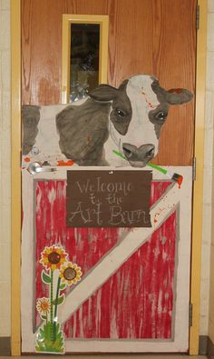 Farm themed classroom door: Art room door with a splatter painting cow! Art on…