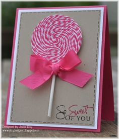 Lollipop Card made with bakers twine - great for a child's birthday or a thank-you note!