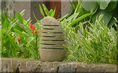 Boulder lamp in garden Balinese Garden, Garden Accessories, Bouldering, Outdoor Living, Black And White, Plants, Color, Outdoor Life, Planter Accessories