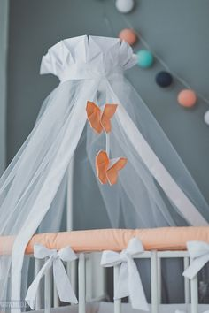 Crib canopy bed crown Origami Peach Butterfly - Neutral nursery peach orrange white