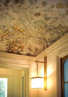 Bring out the old-fashion look with this kind of wallpaper in the ceiling - classy. Ceiling Murals, Ceiling Decor, Ceiling Design, Wall Murals, Wall Art, Chinoiserie, Ceiling Treatments, Ceiling Detail, Wall Wallpaper
