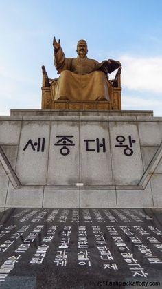 King Sejong statue and hangul script  #seoul #korea