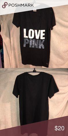 Victoria's Secret PINK Black V-Neck Tee Great condition. PINK Victoria's Secret Tops Tees - Short Sleeve