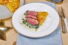 Kacsamell Anna burgonyával és krémes spenóttal Anna, Favorite Recipes, Fish, Meat, France, Beef