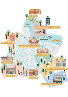 AMSTERDAM Neighbourhoods guide maps by Saskia Rasink. I like the detail within the houses/buildings and them still being able to appear more graphic than illustrative. Travel Illustration, House Illustration, Map Illustrations, Travel Maps, Travel Posters, Amsterdam Map, Amsterdam Guide, Amsterdam Netherlands, Plan Ville