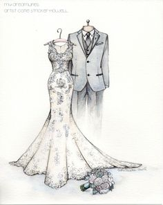 Wedding dress sketch from the groom to the bride. #catiethesketchlady, #dress #illustration