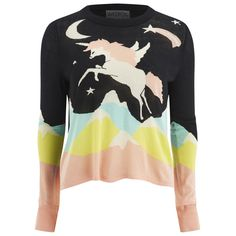 Wildfox Women's Land Faraway Venice Opal Sweatshirt (700 BRL) ❤ liked on Polyvore featuring tops, hoodies, sweatshirts, loose fit tops, unicorn top, unicorn sweatshirt, wildfox tops and crewneck sweatshirt