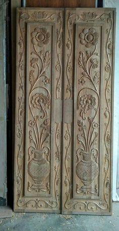 Single Door Design, Wooden Front Door Design, Double Door Design, Wooden Front Doors, Bedroom Door Design, Door Design Interior, Wood Carving Designs, Wood Carving Art, Wood Art Panels