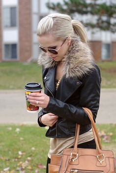Blogger @Lynette Skelton @ lynette marie spotted looking stylish for fall with a Charlotte Russe fur hooded moto jacket. See more of her #ootd on her blog - lynette marie: Fur & poofs.