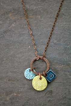 triple charm necklace - lime, peacock, turquoise | Lily Wikoff