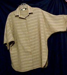 Pierre Cardin Brown Top Tweed Stripe Button Front  Size 6 Polyester Short Sl. #PierreCardin #ButtonDownShirt #Career