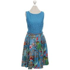 Pre-owned Dress in blue (893.430 COP) ❤ liked on Polyvore featuring dresses, blue, pre owned dresses, mixed pattern dress, pattern dress, lace print dress and print dress