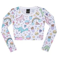 UNICORN LONG SLEEVE CROP TOP ❤ liked on Polyvore featuring tops, t-shirts, crop t shirt, print tees, longsleeve t shirts, long-sleeve crop tops and unicorn tee