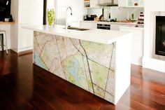 Brad and Lara's Kitchen from the block 2012. City Map on kitchen Bar Bench
