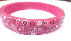 Fimo Pink Bangle : Polymer Clay Retro Pattern. $22.00, via Etsy.