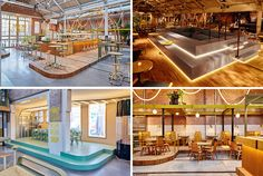 Studio Modijefsky have transformed what was once a former tram depot in Amsterdam into a restaurant and bar named the Kanarie Club, that features many different zones