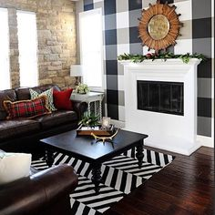 Plaid isn't just for the holidays! This traditional, prim look gets updated when paired with bold, black and white pattern. [ @pink_peppermint_design] #MakeHomeYours #madforplaid