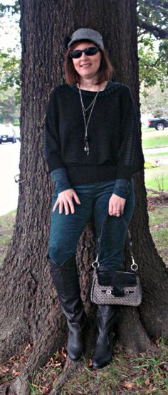 Dolman sleeved top and green skinny cords. Over 40 petite blogger Versatile Style by Tracey