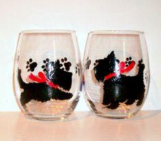 Scottish Terrier Dog Silhouette Hand Painted Wine Glasses Set of 2 - 21 oz. Stemless Wine Glasses Glassware Scottie, Westie, Scotties by SharonsCustomArtwork on Etsy