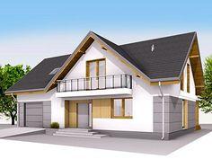 Sekwana to nowoczesny projekt domu z użytkowym poddaszem i jednostanowiskowym garażem. Prosta, wpisana w prostokąt bryła z dwuspadowym dachem została podkreślona efektownymi... Attic Design, Dream House Plans, Home Fashion, My House, Exterior, House Design, Cabin, House Styles, Home Decor