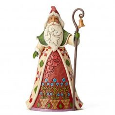 Yes, He Knows-Santa With Cane and Bell Tribute Santa Figurine - Santa