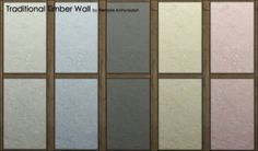 Traditional Timber Wall 5 colors by Vampire aninyosaloh at Mod The Sims