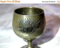 SALE Vintage brass cupsmall brass cupdecorated by VintageAnd4All