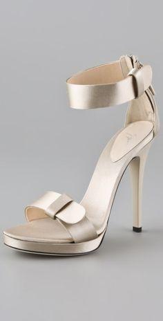 Giuseppe Zanotti Silver Satin High Heel Sandals