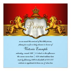 Regal Baby Blue and Red Prince Baby Shower Custom Announcement