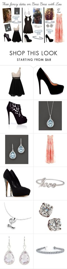 """Three fancy dates on Bora Bora with Lou"" by karolinebhn ❤ liked on Polyvore featuring Giuseppe Zanotti, Bloomingdale's, Alexander McQueen, Casadei, Alex Monroe, PikaPika, Tiffany & Co., DeLatori and Love"