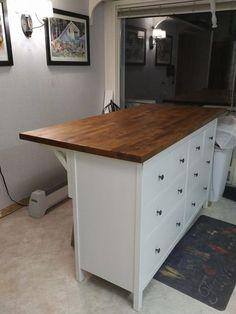 IKEA items used: 1 Karlby countertop for kitchen island (oak or walnut) 1 Hemnes 8-drawer dresser with white stain 3 Ekby Stilig shelf brackets (the largest size) 1. Assemble Hemnes dresser per Ikea i