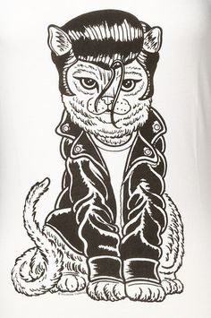 Rockakitty Cat Greaser T Shirt:This t-shirt combines two great things, cats and rockabilly! This womens white scoop neck t-shirt features a black and white graphic of a 50s greaser kitty with a pompadour, white t-shirt and black motorcycle jacket. Drawing is by Philly artist Ozzie Perez. 95percent Modal 5percent Spandex. Machine wash cold and lay flat to dry. $28.00