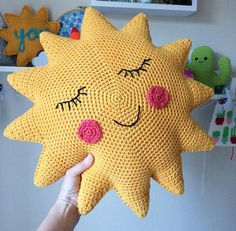 **This is a digital download for a pdf pattern, not the finished item.** This is a pdf pattern to make a fun crochet sunshine cushion with hello message or smiley face. A novelty cushion for your home and nursery. The pattern is written in UK terms. Made using Aran cotton yarn the