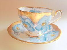 Princess Anne Tea Cup and Saucer English Bone by AprilsLuxuries